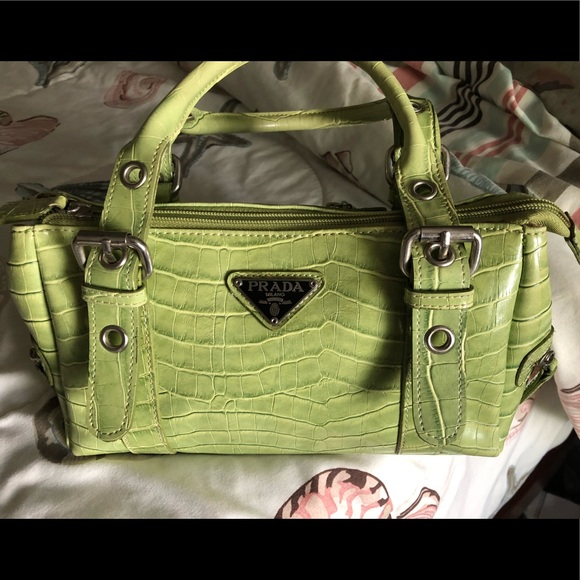 Bags   Green Croc Leather Prada Handbag   Poshmark c8157c44a5